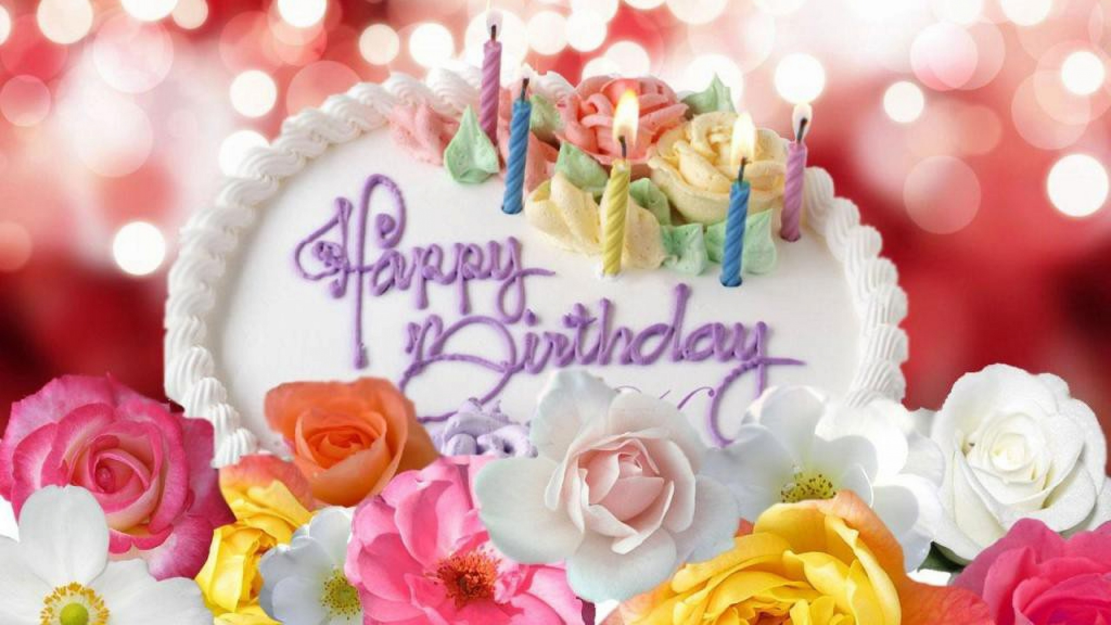 Beautiful Rose Cake Happy Birthday Image Wallpapers Free Download