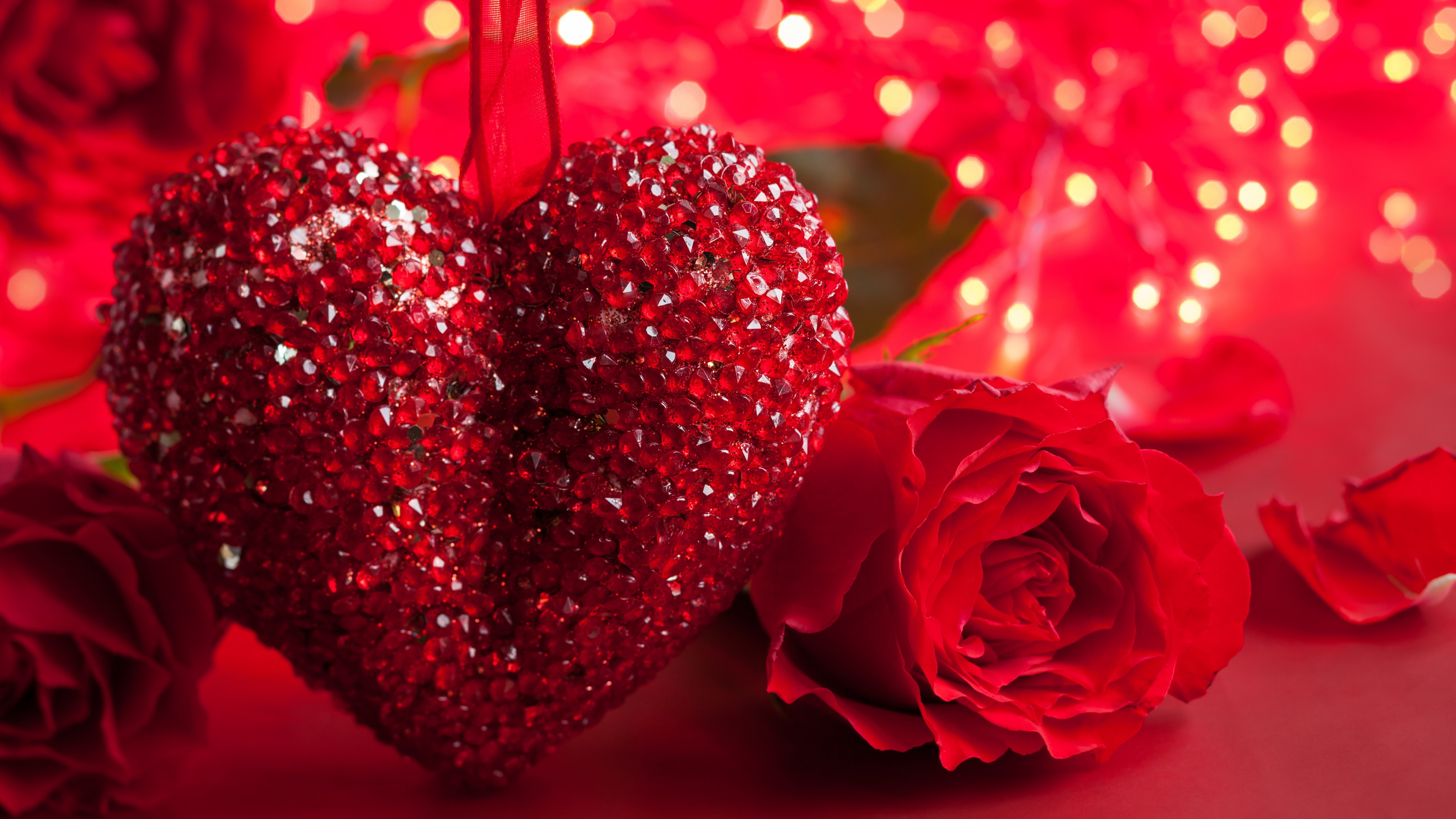 Valentine Day Red Romantic Rose And Heart Wallpaper