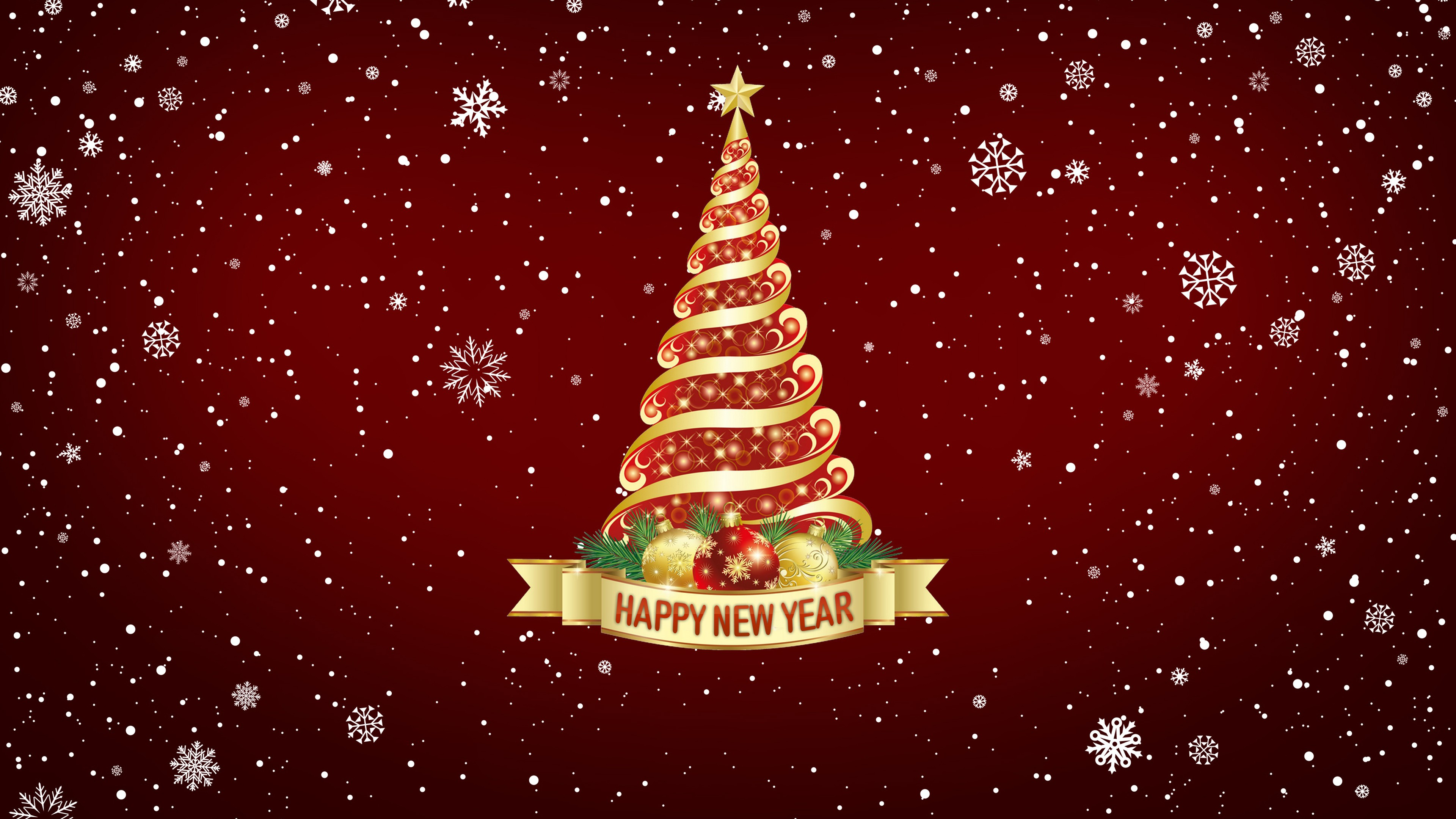 Christmas Tree Images Hd.Happy New Year Christmas Tree Snowflake Background 4k