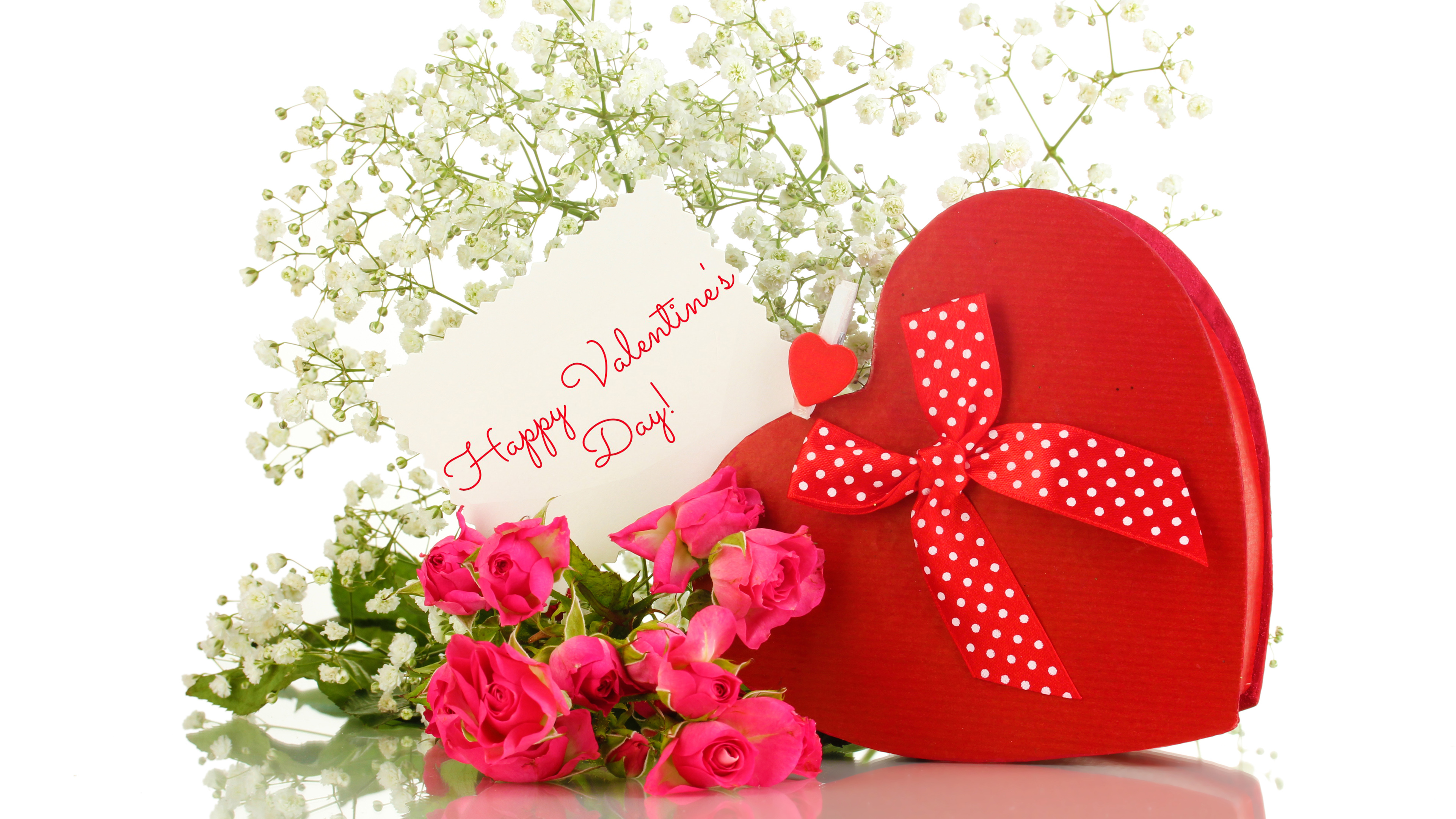 Happy Valentines Day Giftbox and Flowers 4k Wallpaper