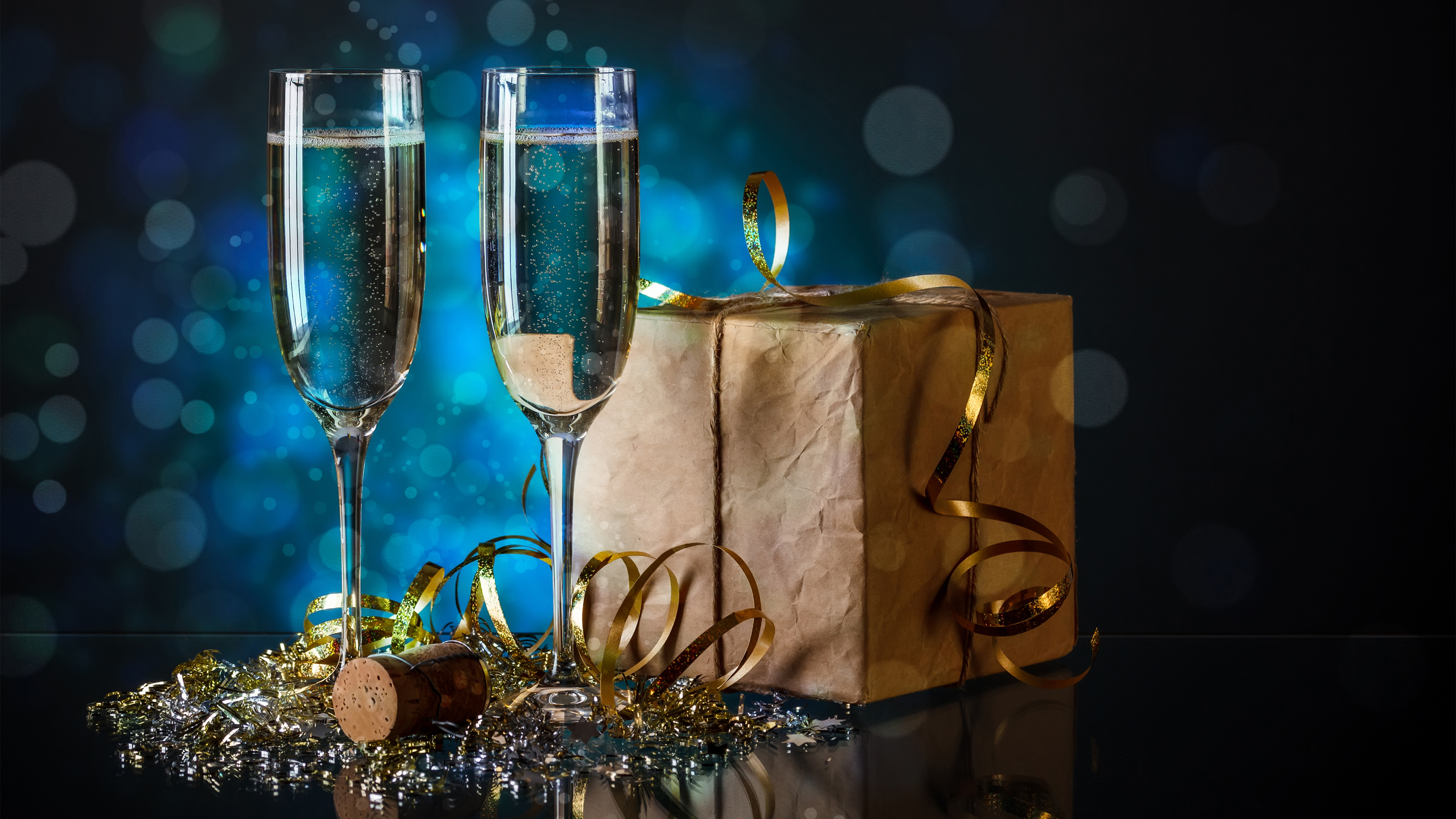 New Year Party Champagne and Gift Box 4k Wallpaper