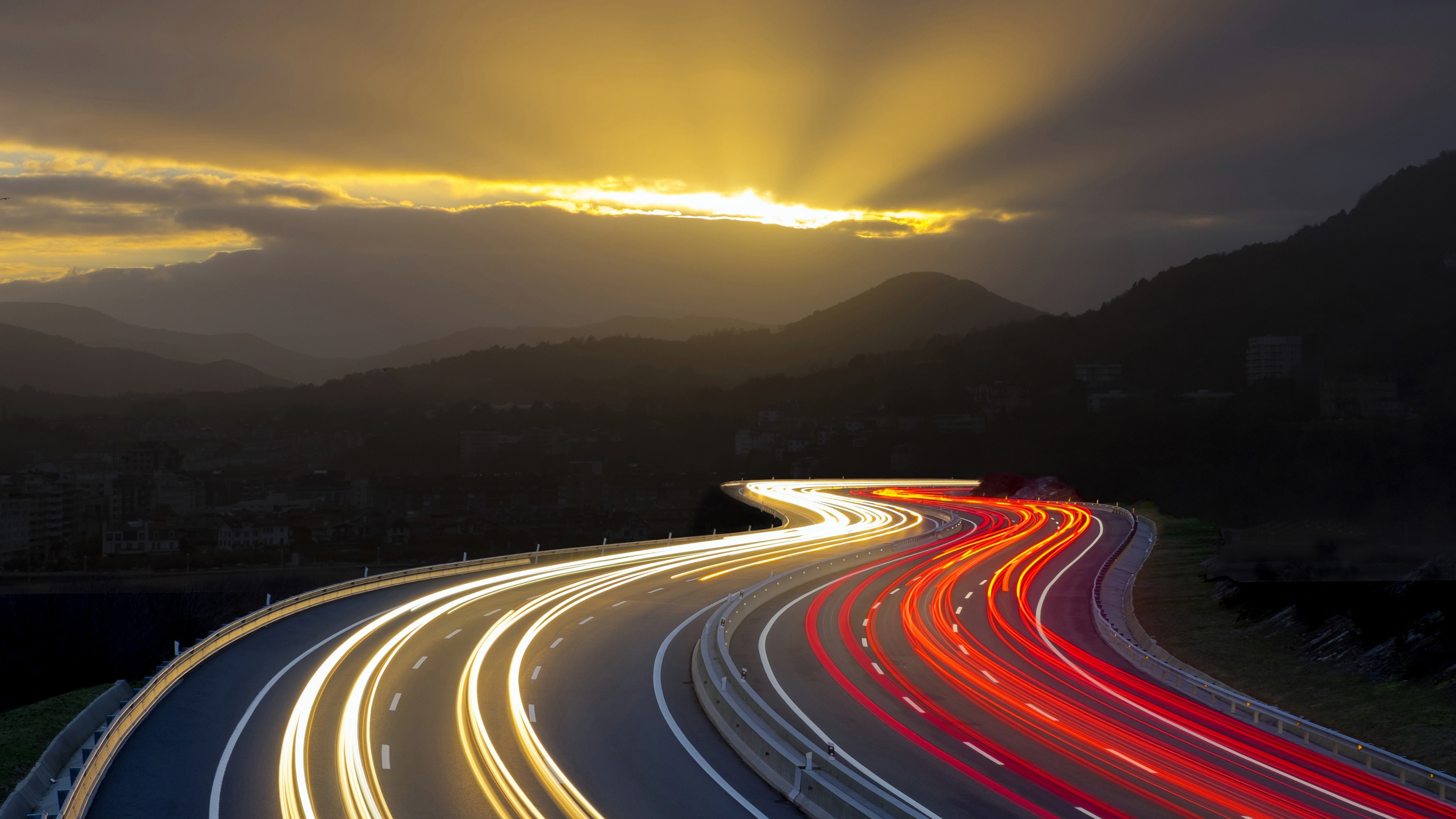 Highway Long Exposure Photography Background 4k 3840x2160