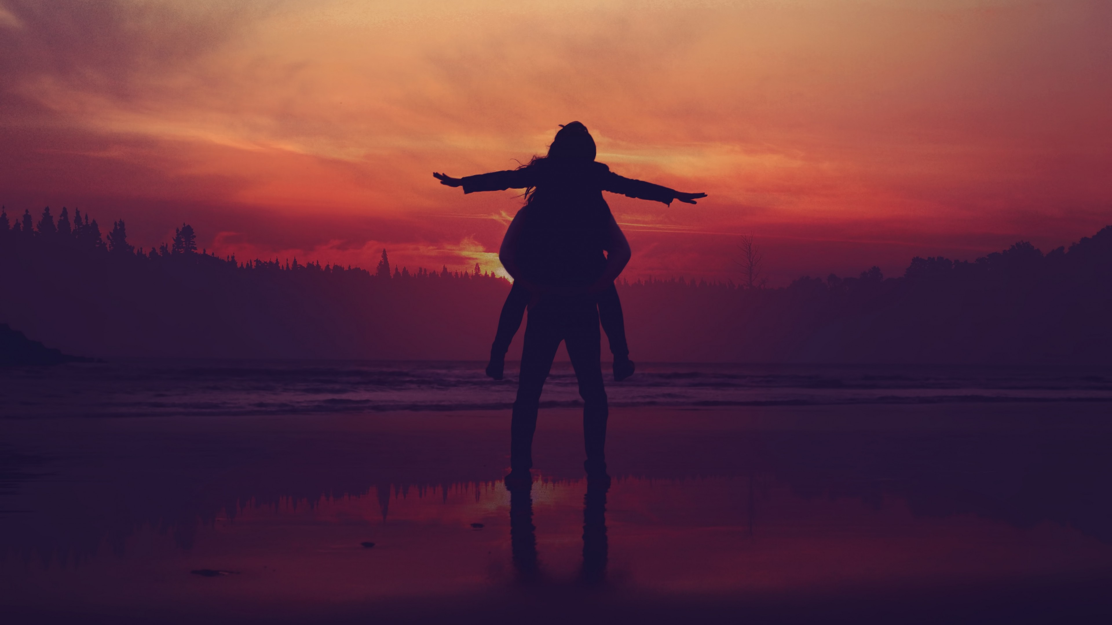 Amazing Sunset Seaside Couple Love Silhouette