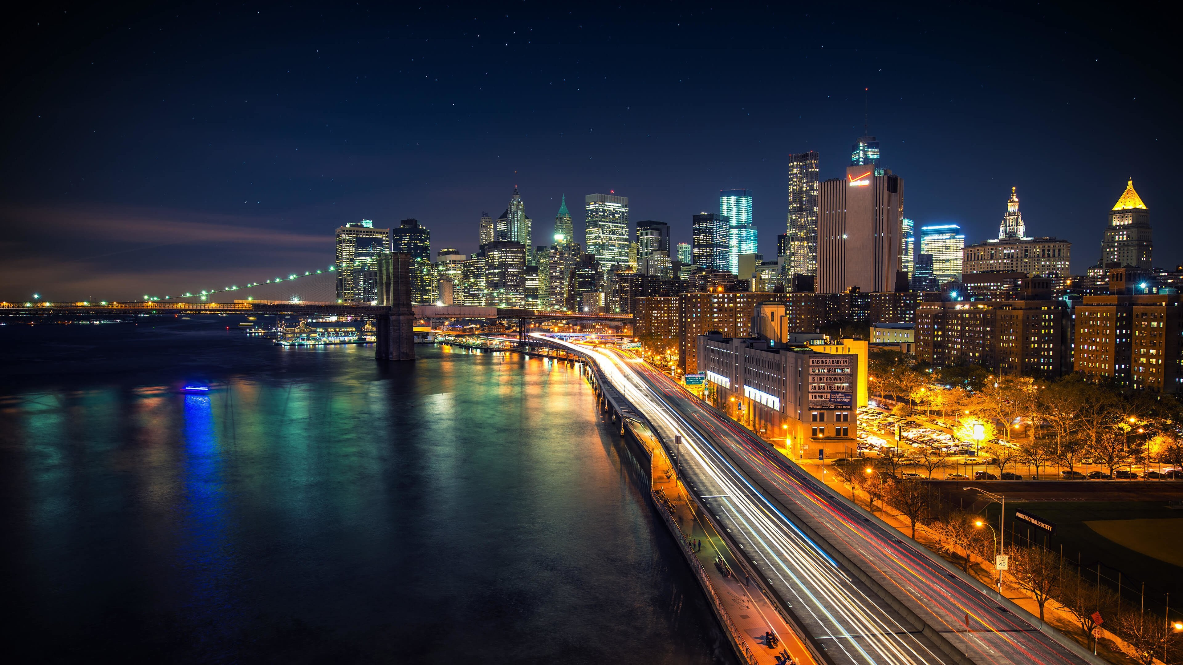 Manhattan New York City Starry Night Scene Wallpaper