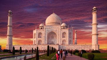 Taj Mahal with Sunset Scenery Background Ultra HD Desktop Wallpaper