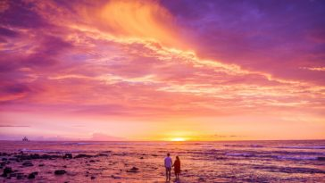 Romantic Couple Seeing Stunning Red Sunset at Beach