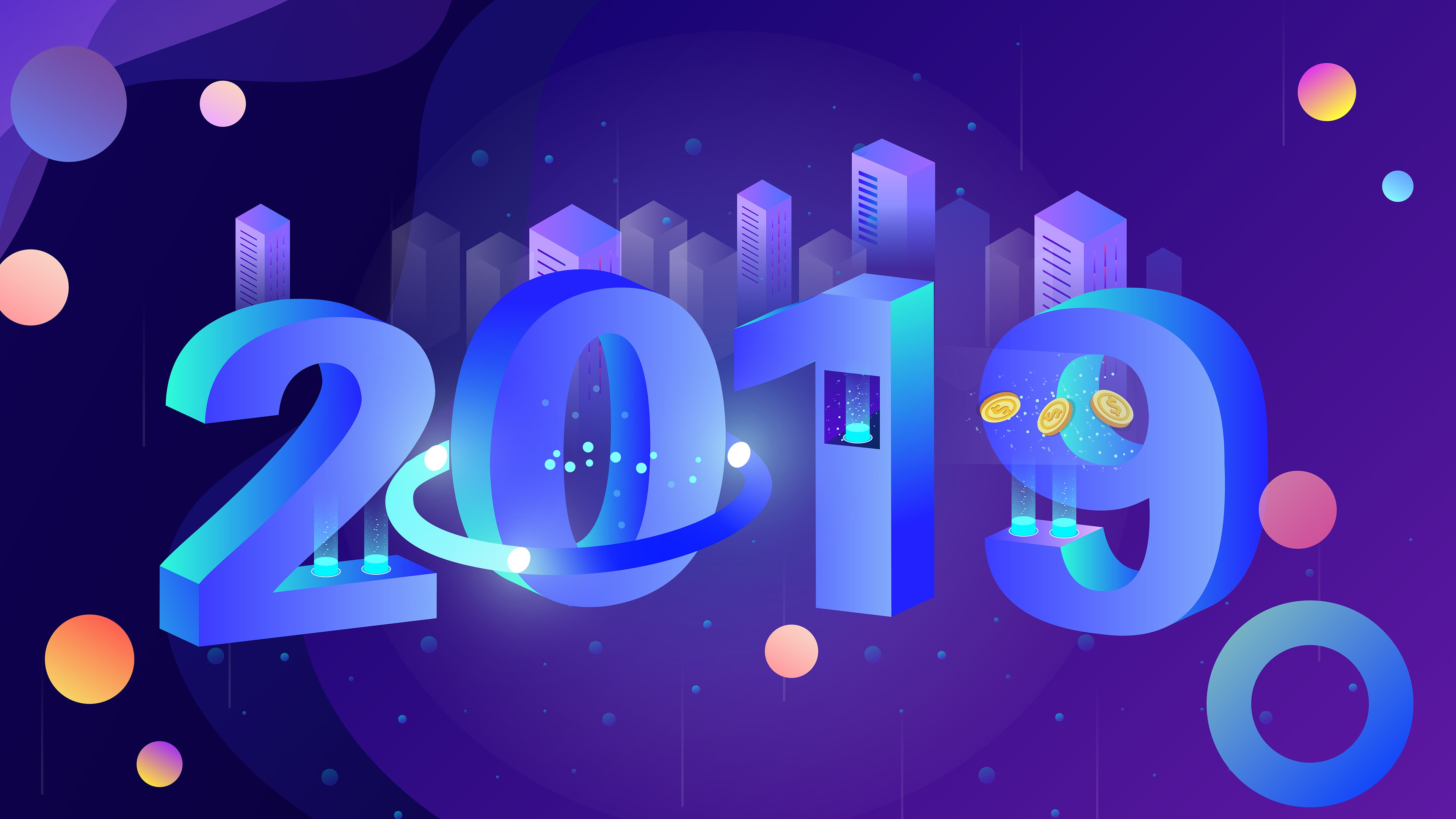 2019 New Year 3D Vector Art 4k Wallpaper 3840x2160