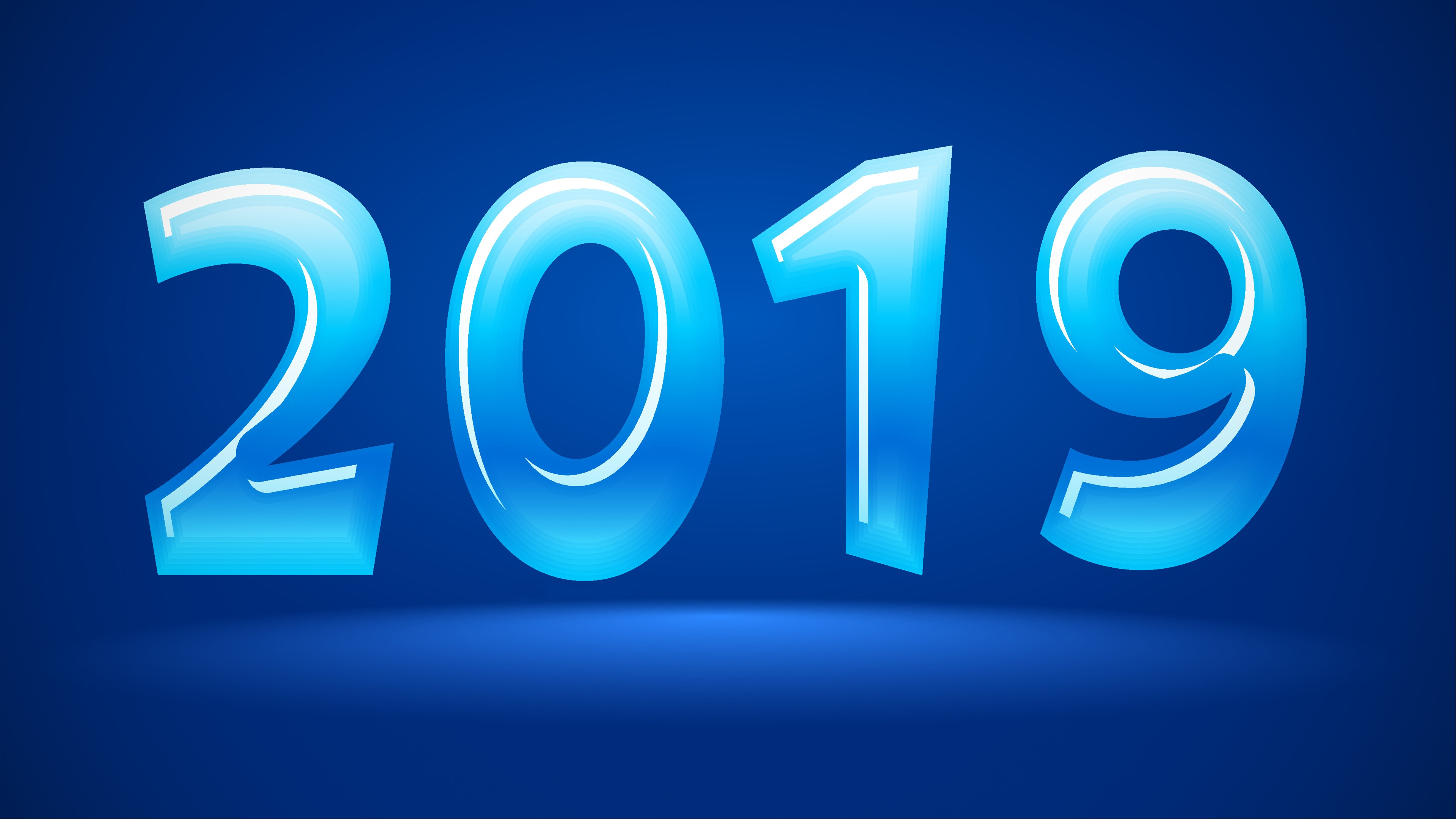 2019 New Year Abstract Blue Background High Quality
