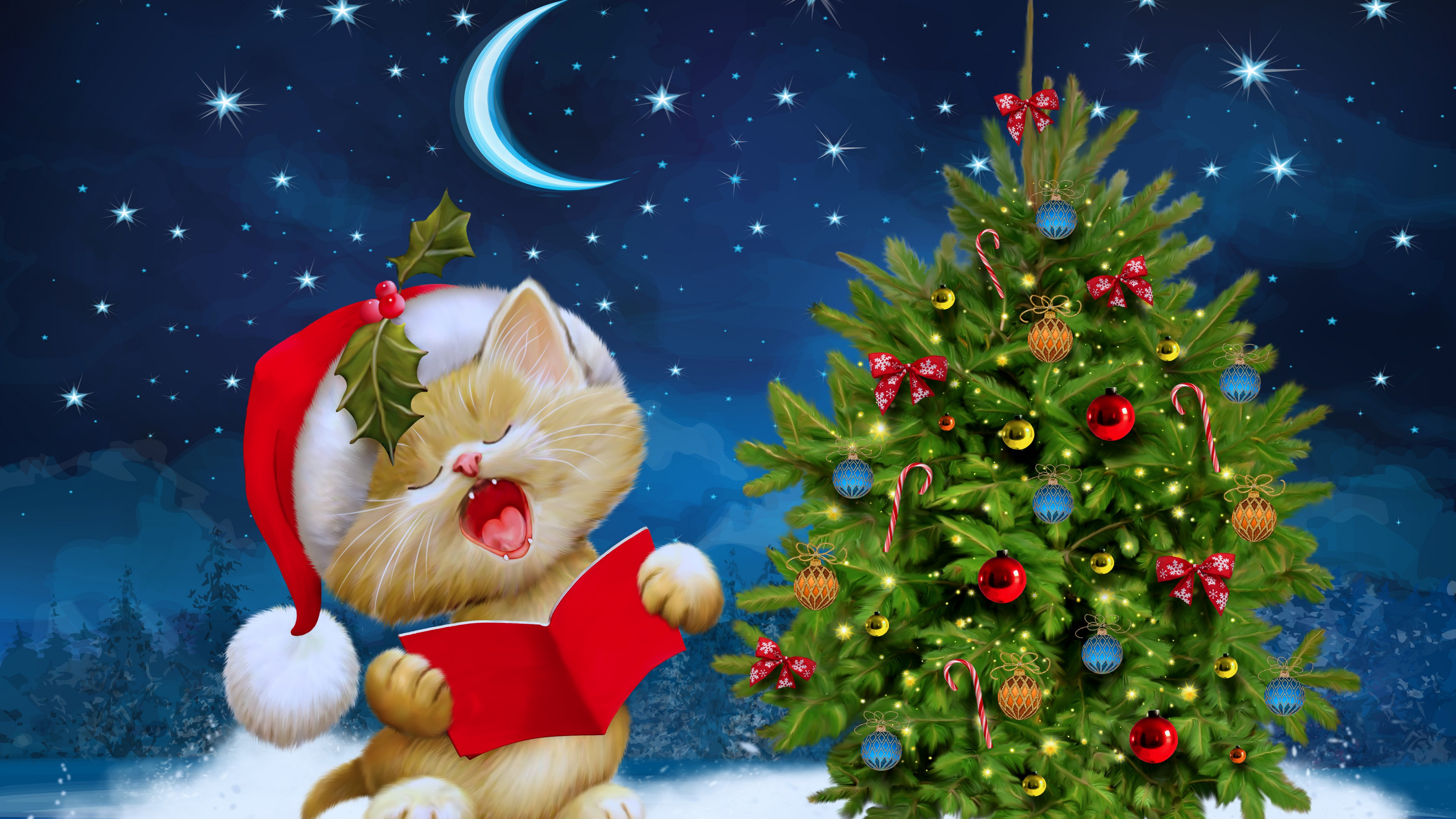 Christmas Cat Sing Wallpaper Download 3840x2160