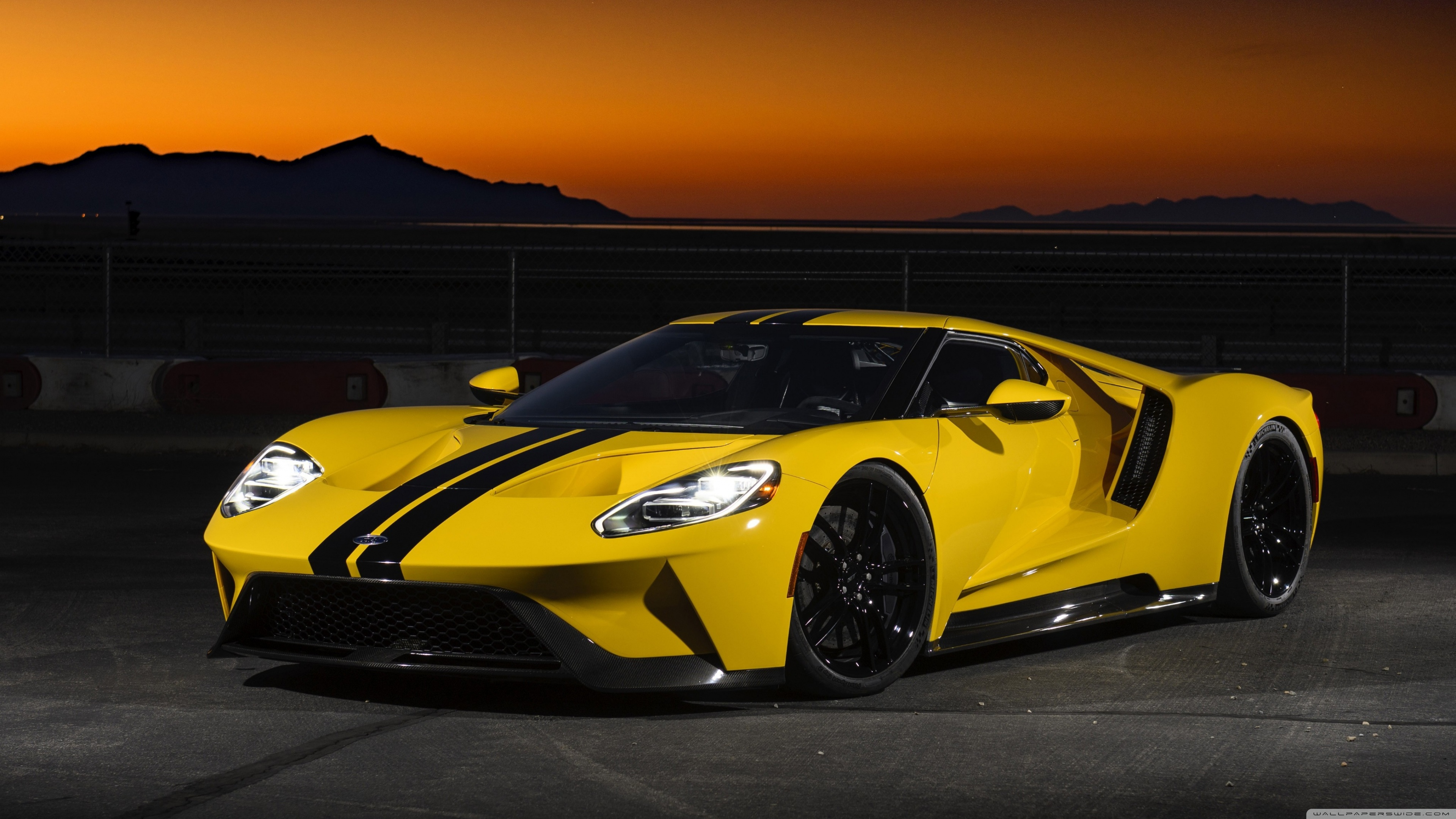 Ford GT Yellow Car High Resolution Wallpaper for Desktop