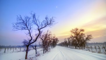 Winter Snow Road Sunset Scenery Wallpaper 3840x2160