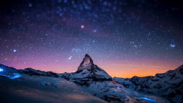 Snow Mountain Night Sky Stars Apple iMac Retina 4K 3840x2400