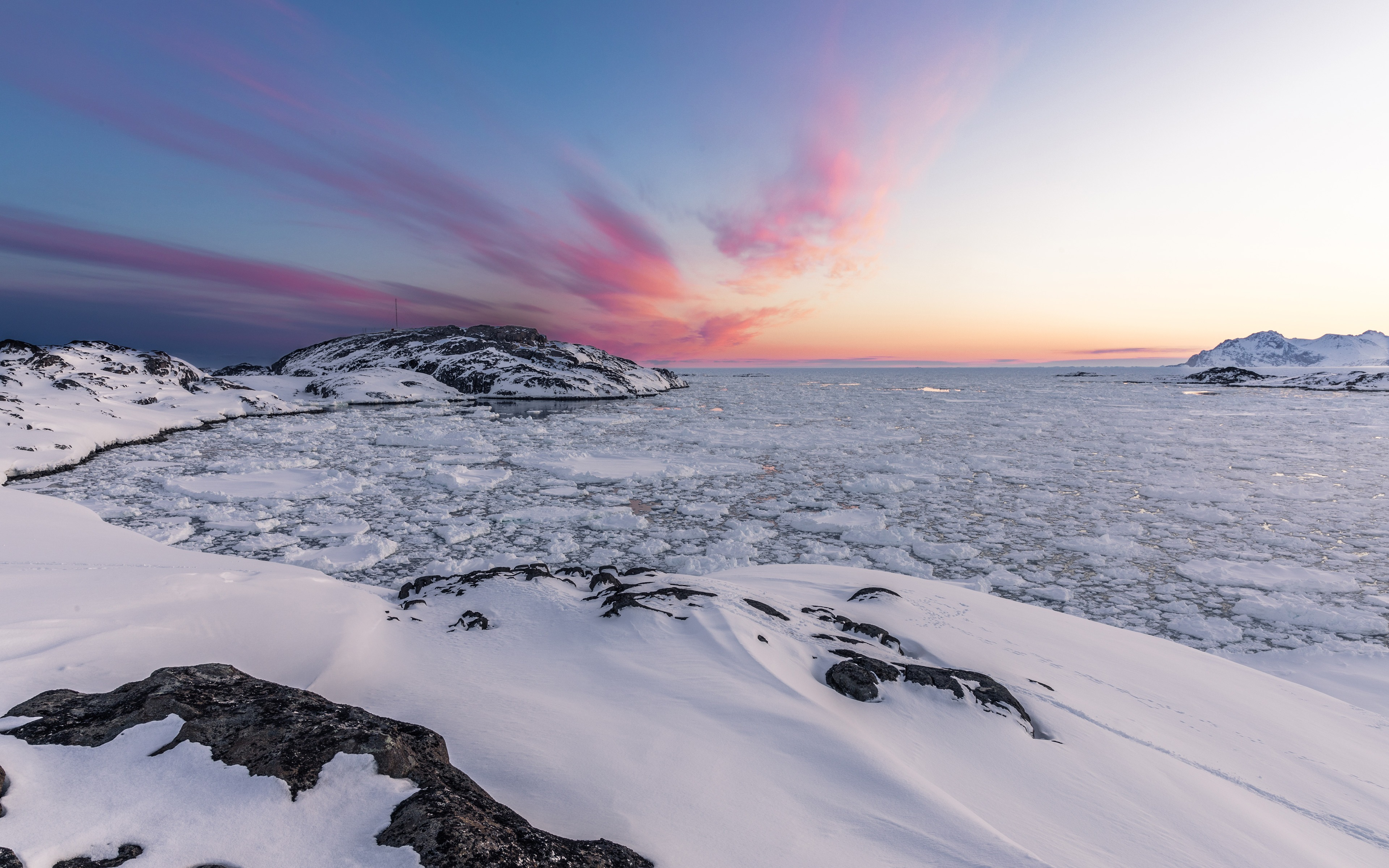 Winter icebergs landscape 4k Wallpaper