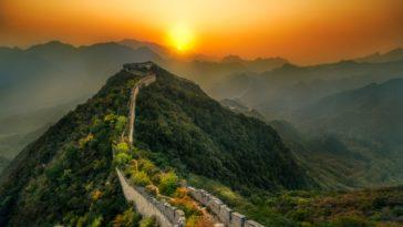 Great Wall Of China Sunset HD Wallpaper 4K