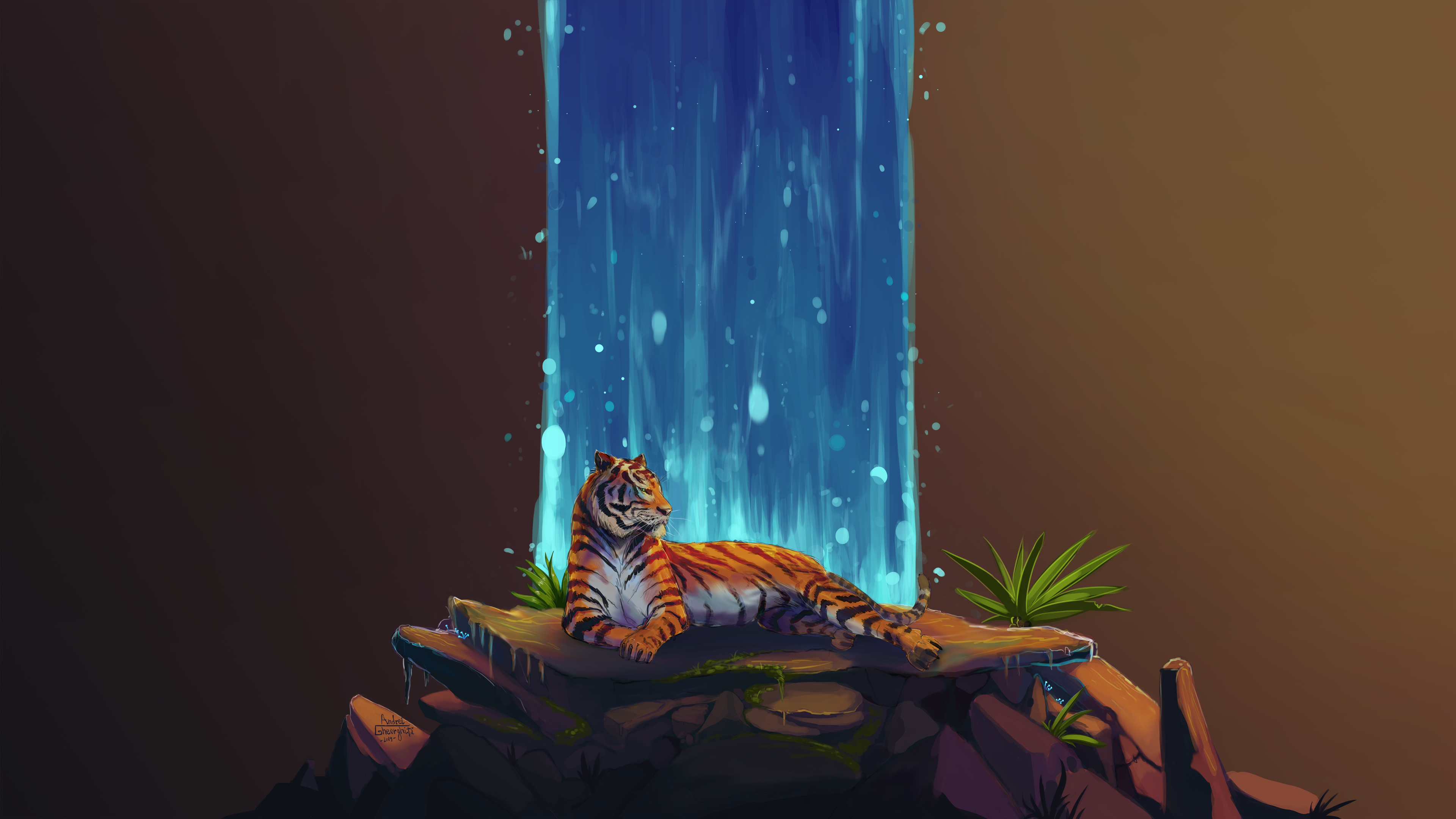 Waterfall Tiger Art HD Wallpaper 4K