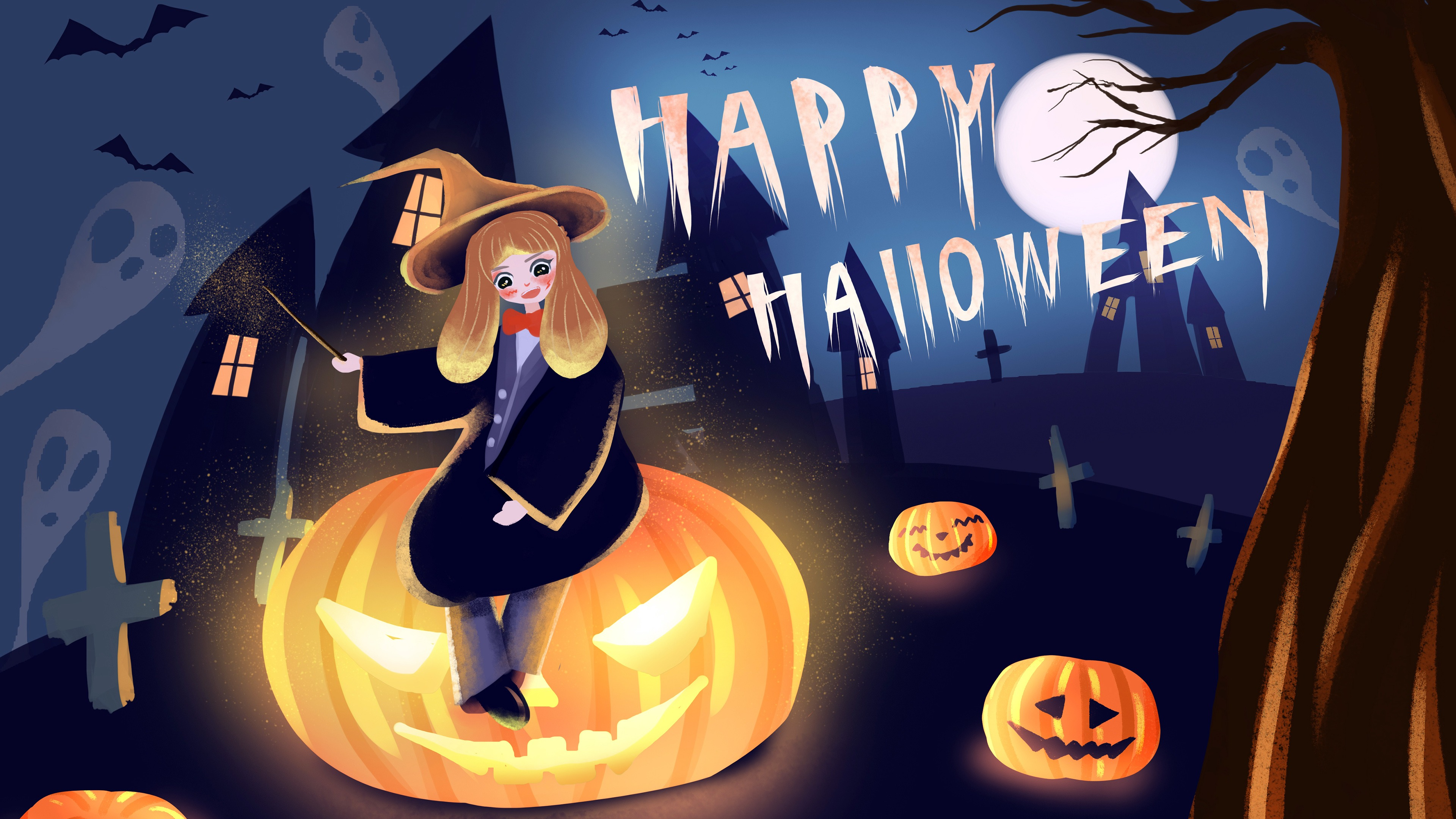 Happy Halloween Girl Pumpkin illustration 4k Wallpaper HD 3840x2160