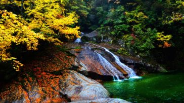 Autumn Forest Waterfall Scenery Photo Wallpaper 3840x2160