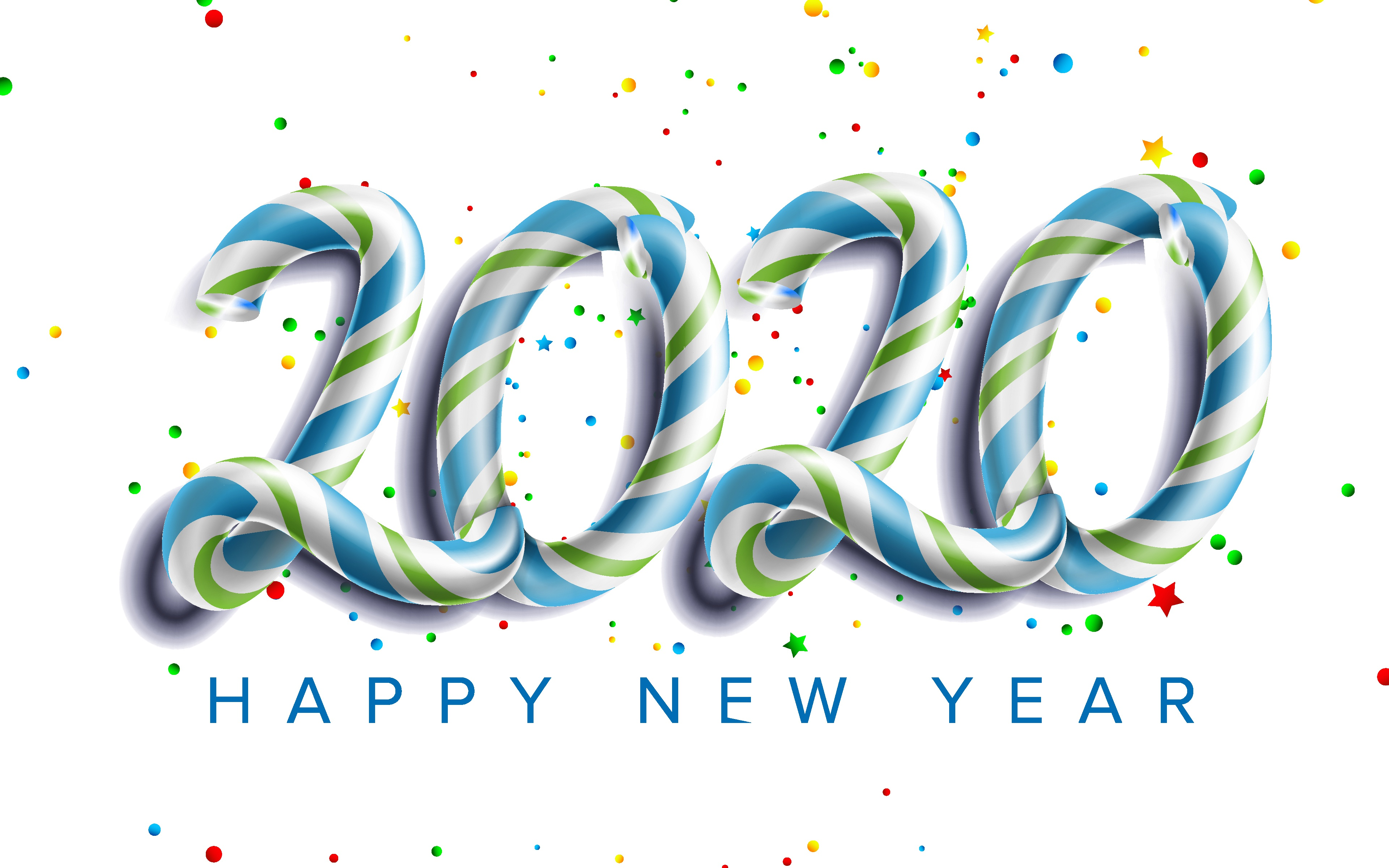 Happy New Year Candy Text HD Wallpaper 4k 3840x2400