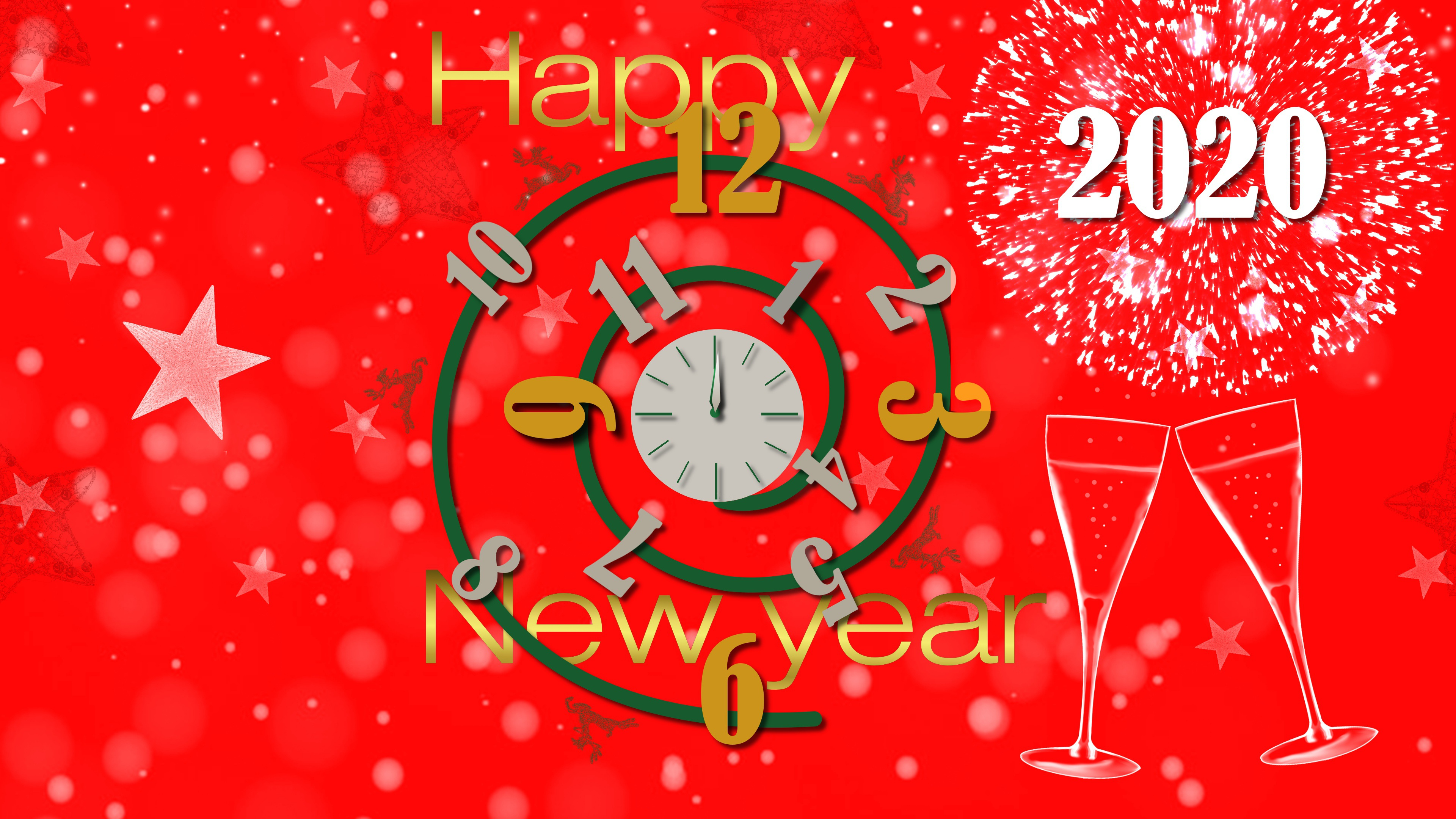 New Year 2020 Clock Counting Celebration HD Wallpaper