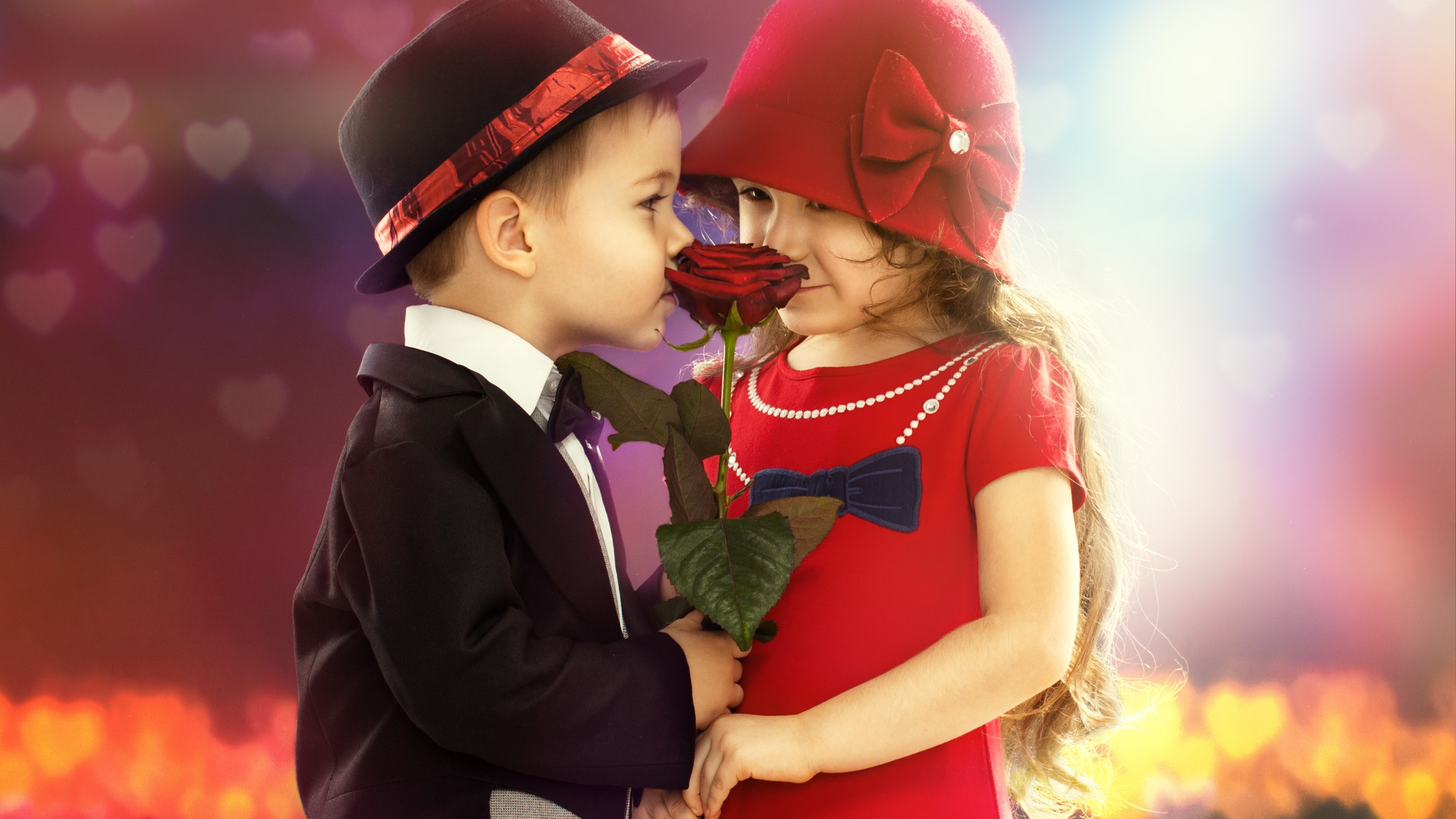 Cute boy and girl wallpaper 3840x2160