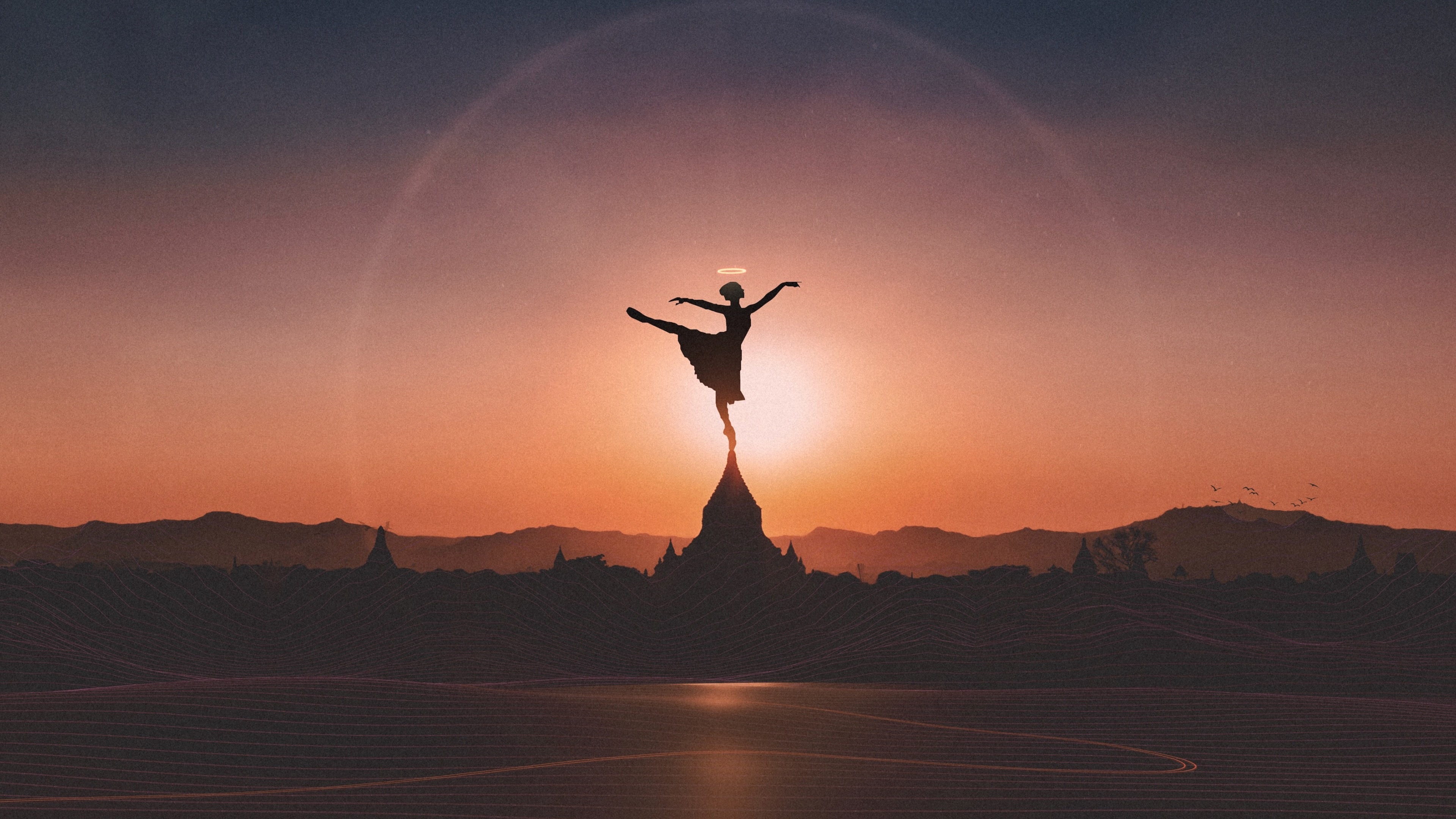 Ballet Dancer Sunset 4K Background 3840x2160