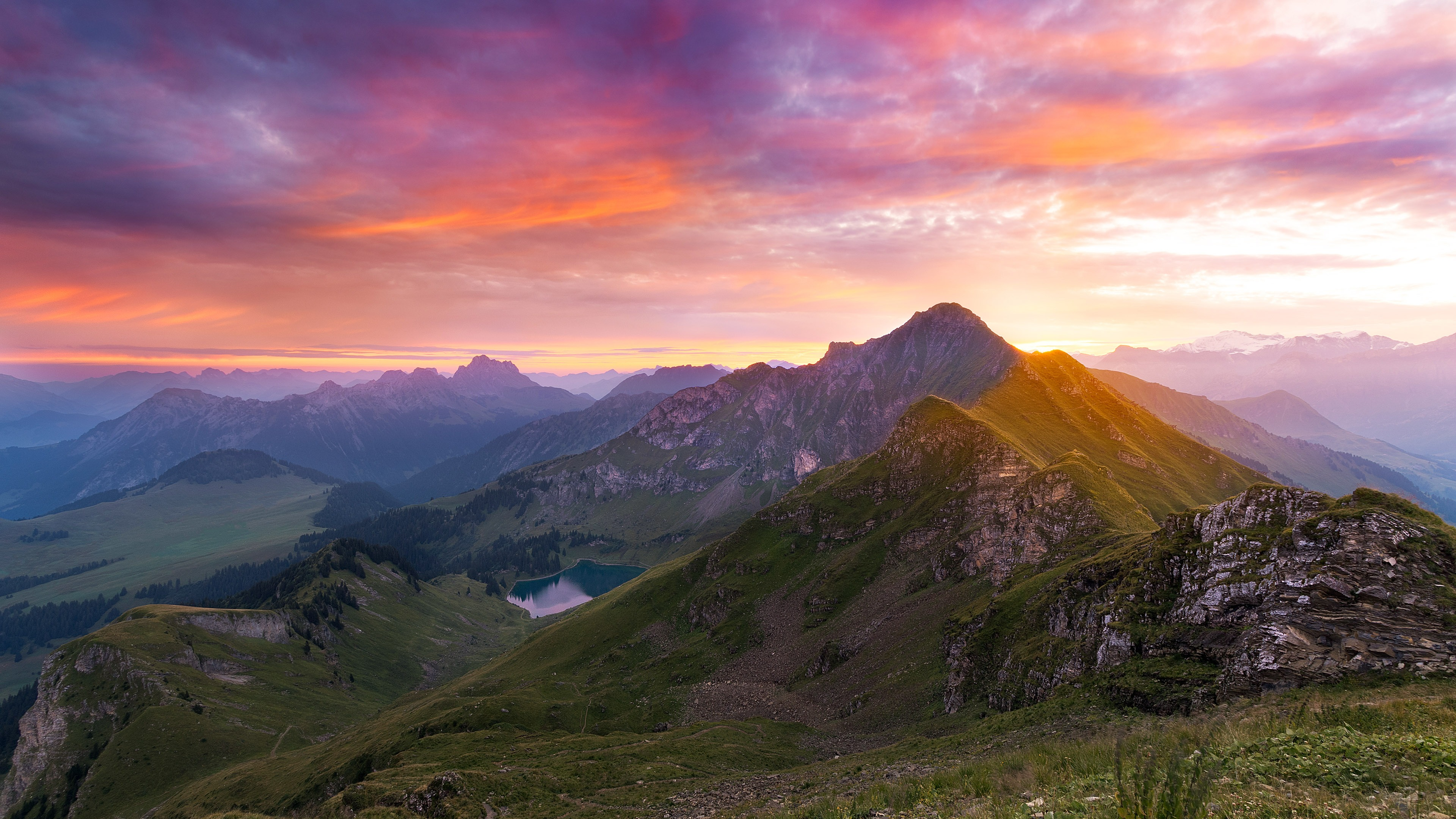 Mountains Sunset Nature Scenery Wallpaper 3840x2160